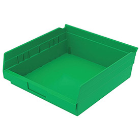 "Plastic Shelf Bin -  11-1/8""W x 11-5/8"" D x 4""H Green - Pkg Qty 12"
