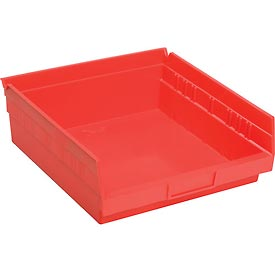 "Plastic Shelf Storage Bin - Nestable 11-1/8""W x 11-5/8"" D x 4""H Red - Pkg Qty 12"