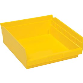 "Plastic Shelf Bin - 11-1/8""W x 11-5/8"" D x 4""H Yellow - Pkg Qty 12"