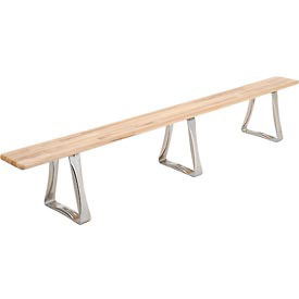"Locker Bench Hardwood Top w/Steel Trapezoid Pedestals, Bolt Down Style, 120""W x 9-1/2""D x 17""H"