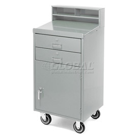"23""W x 20""D Enclosed Mobile Shop Desk  - Gray"
