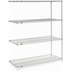 "74""H Nexel Chrome Wire Shelving Add-On - 42""W X 18""D"