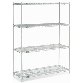 "74""H Nexel Chrome Wire Shelving - 42""W X 24""D"