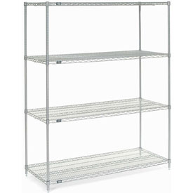 "86""H Nexel Chrome Wire Shelving - 42""W X 18""D"