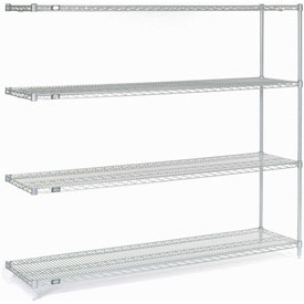 "63""H Nexel Chrome Wire Shelving Add-On - 72""W X 18""D"