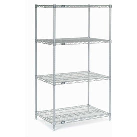 "63""H Nexel Chrome Wire Shelving - 36""W X 24""D"