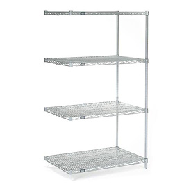 "63""H Nexel Chrome Wire Shelving Add-On - 36""W X 24""D"