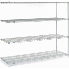 "63""H Nexel Chrome Wire Shelving Add-On - 72""W X 24""D"