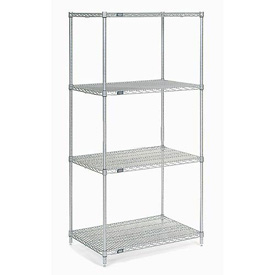 "74""H Nexel Chrome Wire Shelving Add-On - 36""W X 24""D"
