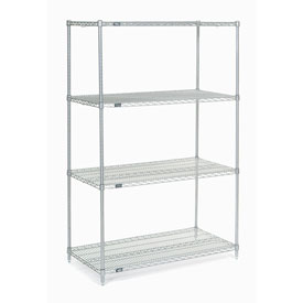 "74""H Nexel Chrome Wire Shelving - 48""W X 24""D"