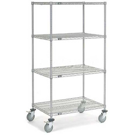 Nexel® Chrome Wire Shelf Truck 36x24x69 1200 Pound Capacity with Brakes