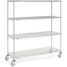 Nexel® Chrome Wire Shelf Truck 72x24x80 1200 Pound Capacity with Brakes