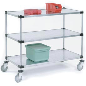 Nexel® Adjustable Solid Galvanized Shelf Cart 72x18 3 Shelves 800 Lb. Cap