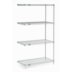 "Nexel Stainless Steel Wire Shelving Add-On 36""W X 18""D X 63""H"
