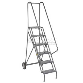 6 Step Steel Roll and Fold Rolling Ladder - Perforated Tread - KDRF106166