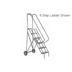 10 Step Steel Roll and Fold Rolling Ladder - Perforated Tread - KDRF110166