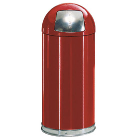 Rubbermaid® R1530EPL 12 Gallon Round Dome Top Waste Receptacle with Plastic Liner - Red