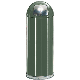 Rubbermaid® R1536EPL 15 Gallon Round Dome Top Waste Receptacle with Plastic Liner - Green