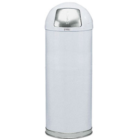 Rubbermaid® R1536EPL 15 Gallon Round Dome Top Waste Receptacle with Plastic Liner - White