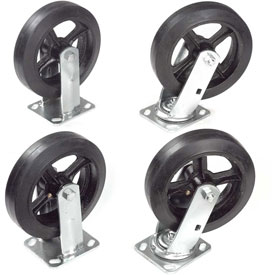 "8"" x 2"" Mold-On Rubber Caster Kit 2 Swivel, 2 Rigid"