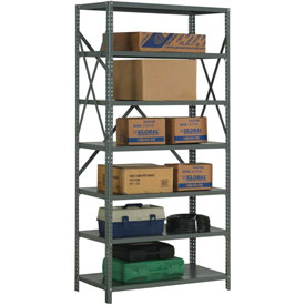 "Steel Shelving 20 Gauge 36""Wx30""Dx73""H Open Clip Style 7 Shelf"