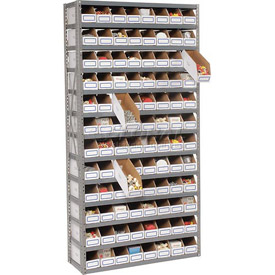 Steel Open Shelving with 96 Corrugated Shelf Bins 13 Shelves  - 36x12x73