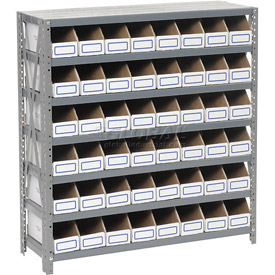 Steel Open Shelving with 48 Corrugated Shelf Bins 7 Shelves No Bin - 36x18x39