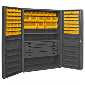 Durham Security Work Center & Storage Cabinet DCBDLP724RDR-95 - Deep Pocket Doors, With 72 Bins