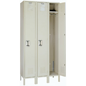 Lyon Locker PP50423SU Single Tier 12x18x72 3-Wide Recessed Handle Assembled Putty