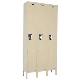 Hallowell UY3228-1PT Locker Single Tier 12x12x72 3 Door Ready To Assemble Parchment