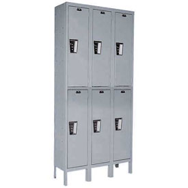 Hallowell UY3588-2 Maintenance-Free Quiet Locker Double Tier 15x18x36 6 Door Ready To Assemble Gray
