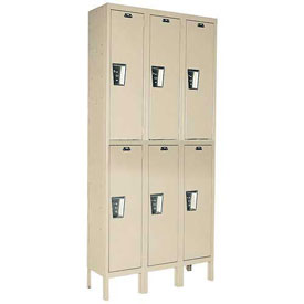 Hallowell UY3588-2 Maintenance-Free Quiet Locker Double 15x18x36 6 Door Ready To Assemble Parchment