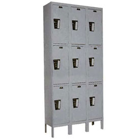 Hallowell UY3228-3 Maintenance-Free Quiet Locker Triple Tier 12x12x24 9 Door Ready To Assemble Gray