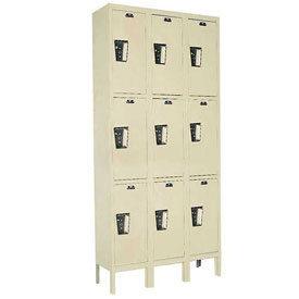Hallowell UY3228-3PT Locker Triple Tier 12x12x24 9 Door Ready To Assemble Parchment