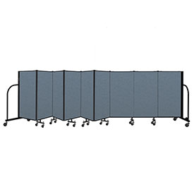 "Screenflex Portable Room Divider 9 Panel, 4'H x 16'9""L, Fabric Color: Blue"