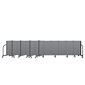 "Screenflex Portable Room Divider 13 Panel, 4'H x 24'1""L, Fabric Color: Gray"