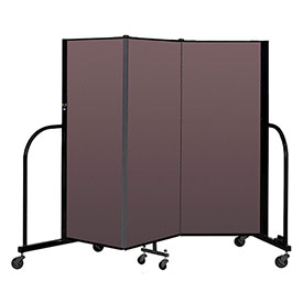 "Screenflex Portable Room Divider 3 Panel, 5'H x 5'9""L, Fabric Color: Mauve"
