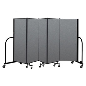 "Screenflex Portable Room Divider 5 Panel, 5'H x 9'5""L, Fabric Color: Gray"