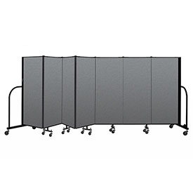 "Screenflex Portable Room Divider 7 Panel, 5'H x 13'1""L, Fabric Color: Gray"