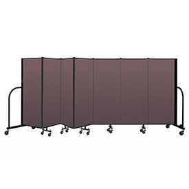 "Screenflex Portable Room Divider 7 Panel, 5'H x 13'1""L, Fabric Color: Mauve"