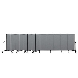 "Screenflex Portable Room Divider 13 Panel, 5'H x 24'1""L, Fabric Color: Gray"
