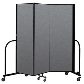 "Screenflex Portable Room Divider 3 Panel, 6'H x 5'9""L, Fabric Color: Gray"