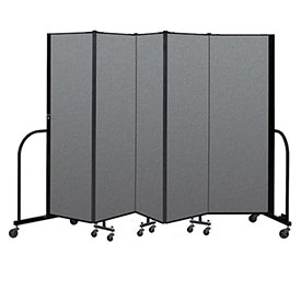 "Screenflex Portable Room Divider 5 Panel, 6'H x 9'5""L, Fabric Color: Gray"