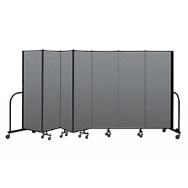 "Screenflex Portable Room Divider 7 Panel, 6'H x 13'1""L, Fabric Color: Gray"