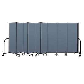 "Screenflex Portable Room Divider 9 Panel, 6'H x 16'9""L, Fabric Color: Blue"