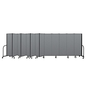 "Screenflex Portable Room Divider 13 Panel, 6'H x 24'1""L, Fabric Color: Gray"