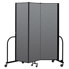 "Screenflex Portable Room Divider 3 Panel, 6'8""H x 5'9""L, Fabric Color: Gray"