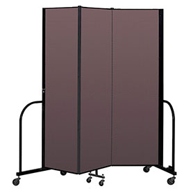 "Screenflex Portable Room Divider 3 Panel, 6'8""H x 5'9""L, Fabric Color: Mauve"