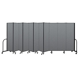 "Screenflex Portable Room Divider 11 Panel, 6'8""H x 20'5""L, Fabric Color: Gray"