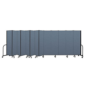 "Screenflex Portable Room Divider 13 Panel, 6'8""H x 24'1""L, Fabric Color: Blue"